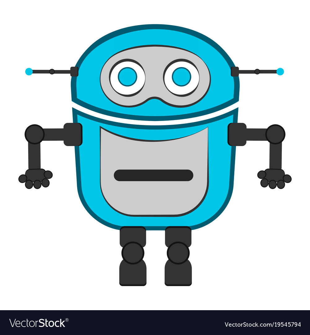 isolated cute robot royalty free vector image vectorstock rh vectorstock com robovector laser level robot vector paths