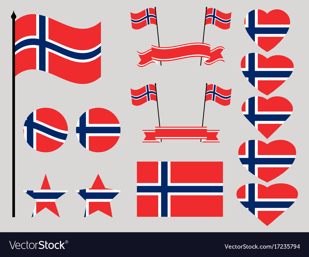Norway flag set collection of symbols heart
