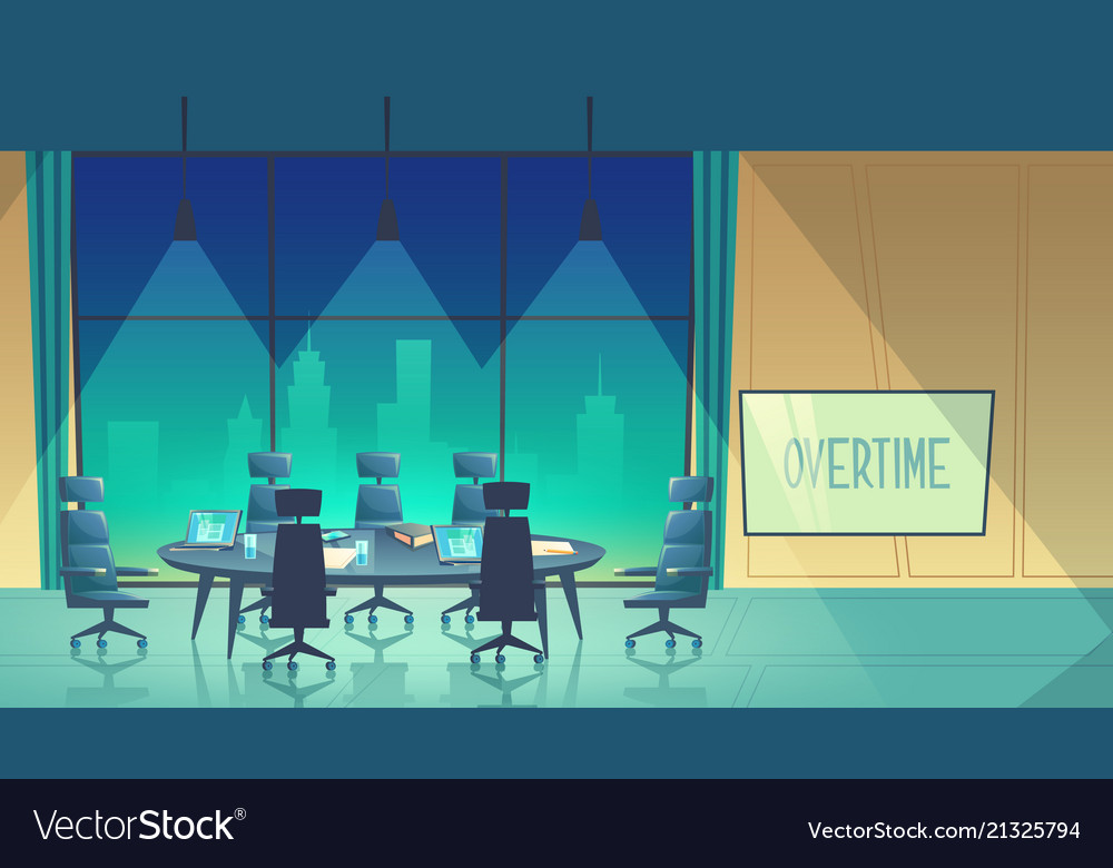Overtime concept - conference hall at night