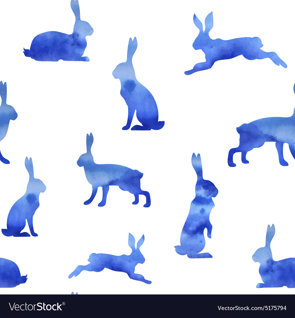 Pattern watercolor hare