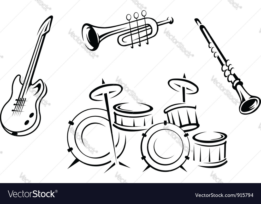 Set of musical instruments in retro style