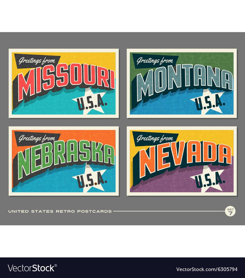 United States vintage postcards vector image