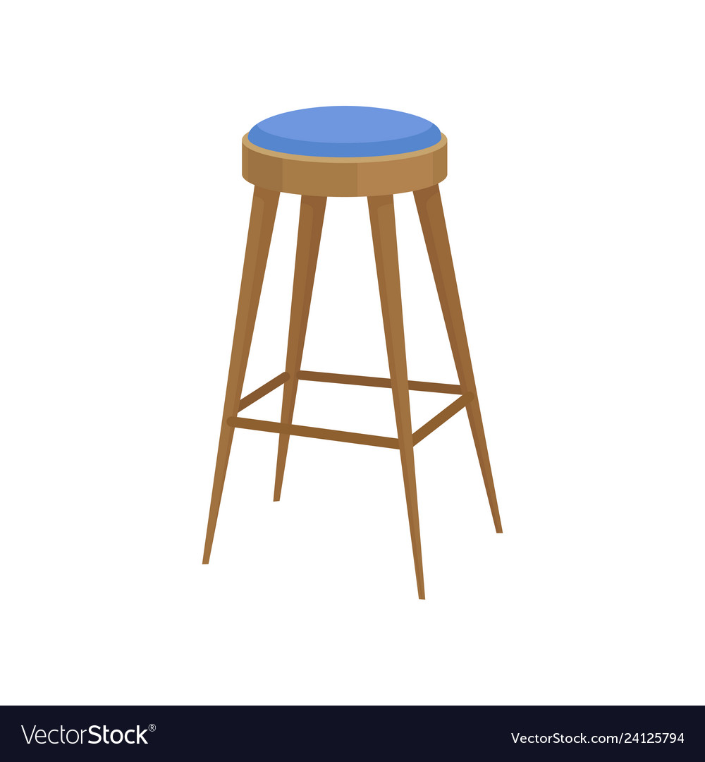 Wooden Bar Stool With Soft Bright Blue Seat Chair Vector Image