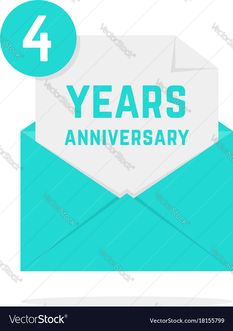 4 years anniversary icon in green letter