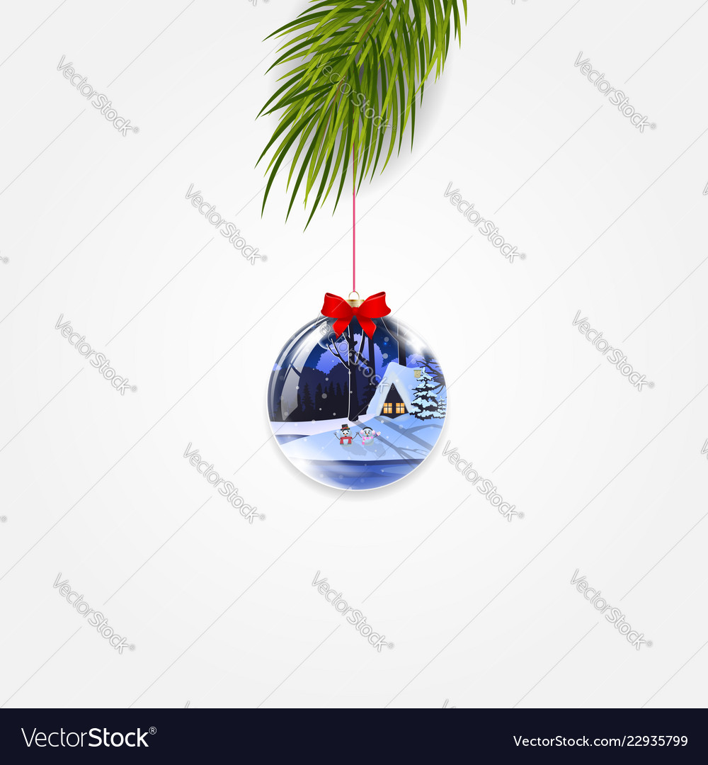 Christmas tree branch with cute shining ball