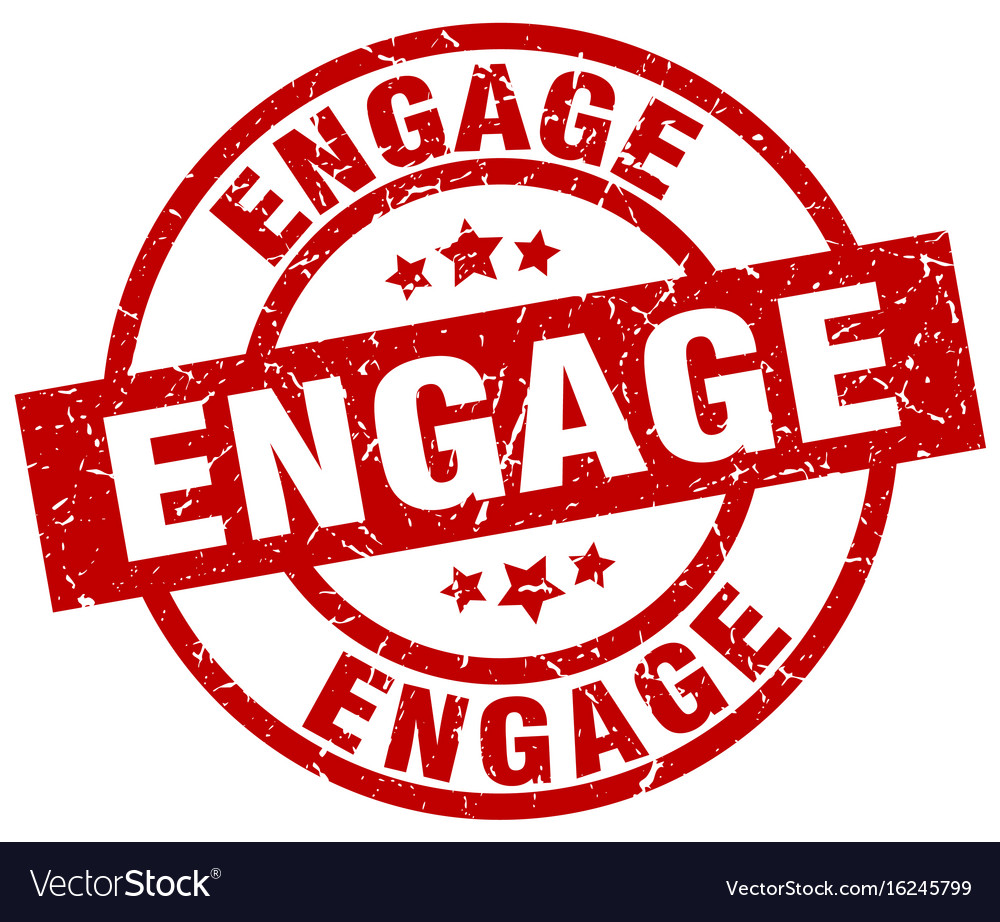 Engage round red grunge stamp vector image