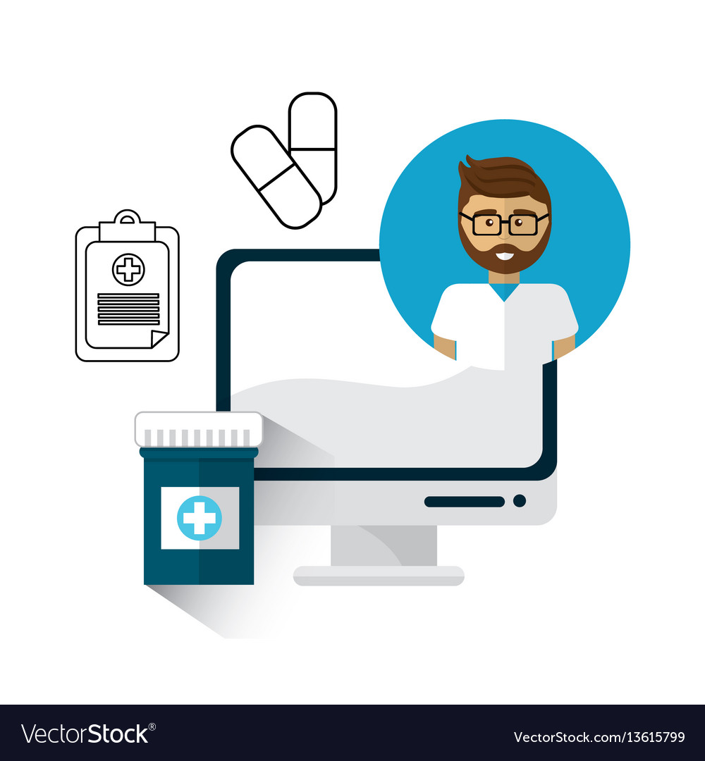 Hospital doctor computer icon vector image