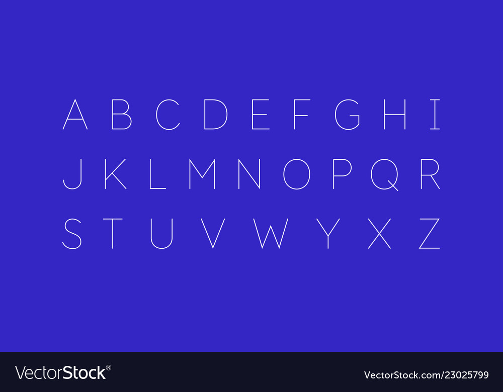Modern alphabet font capital letters of the latin