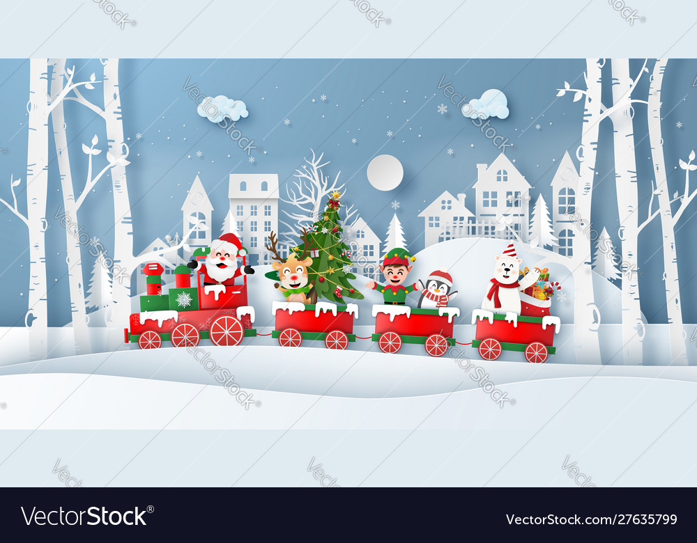 Origami paper art style christmas train with