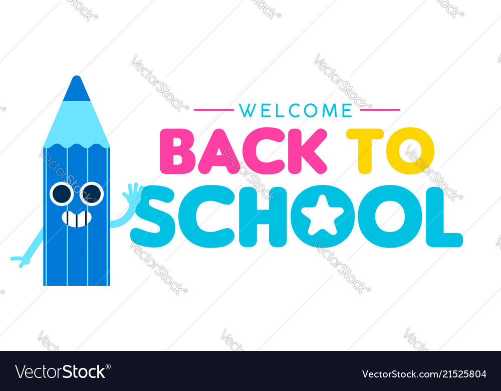 Back to school web banner of funny color pencil