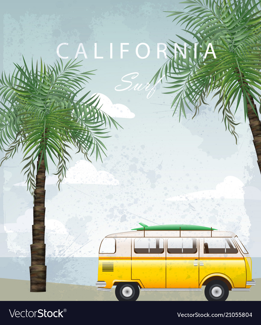 California summer travel card with camping car