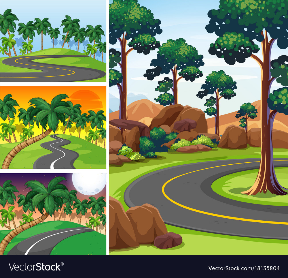 Four scenes with roads and forest