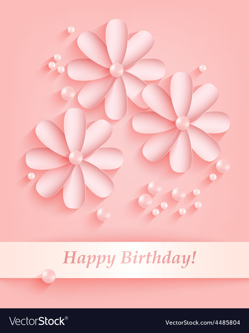 Pink Background With Paper Flowers And Pearls Vector Image