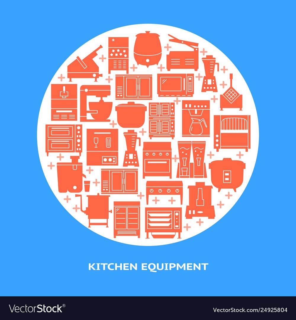 Professional kitchen equipment round banner
