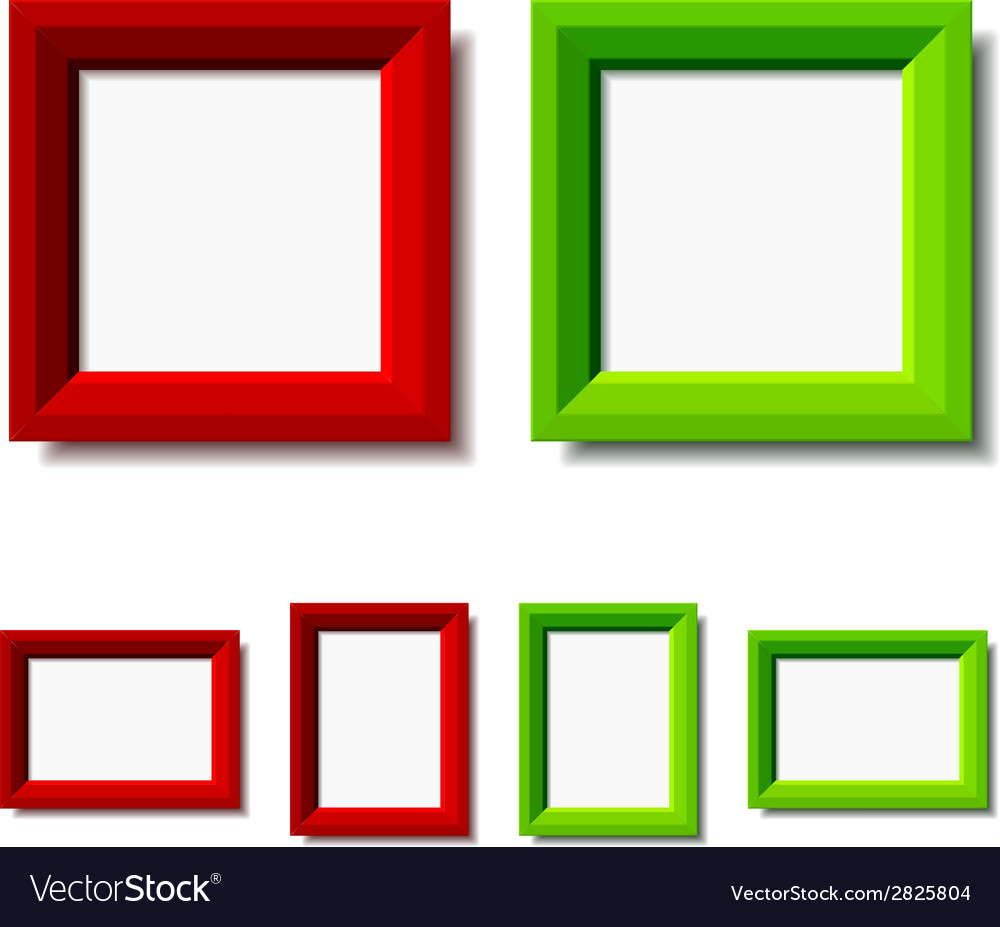 Red and green photo frames Royalty Free Vector Image