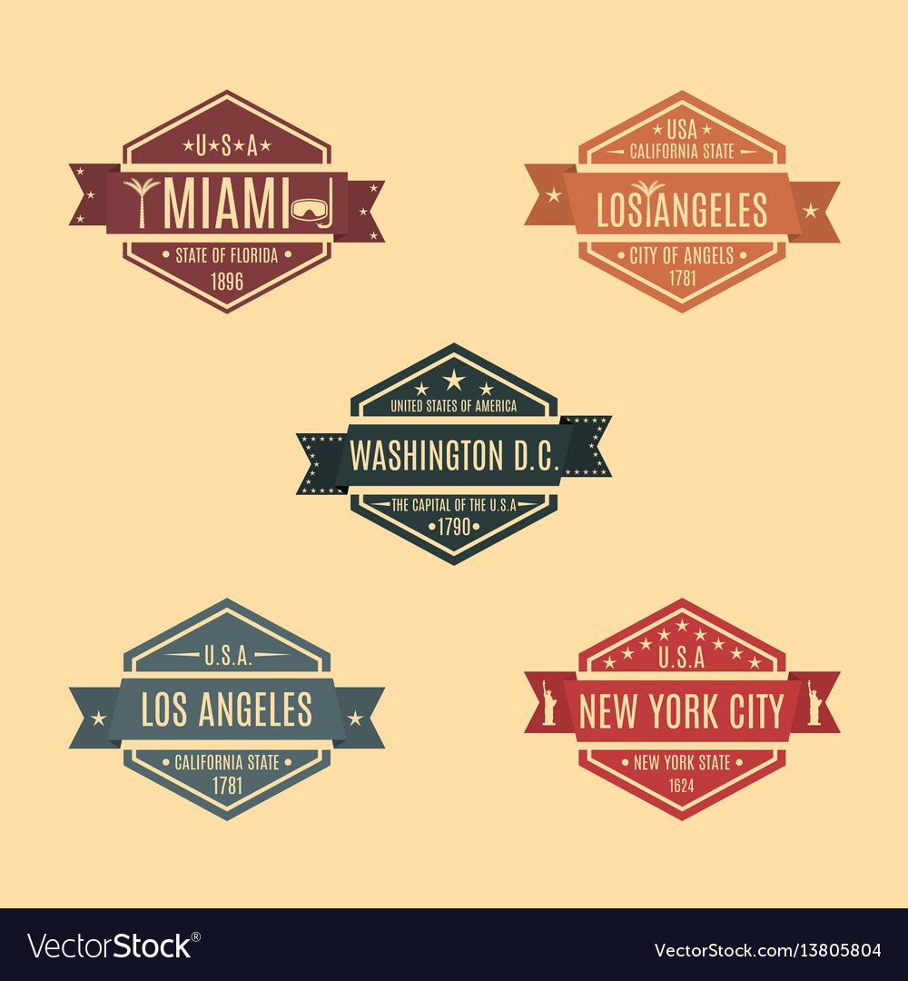 Set hexagonal emblem with the name of us cities