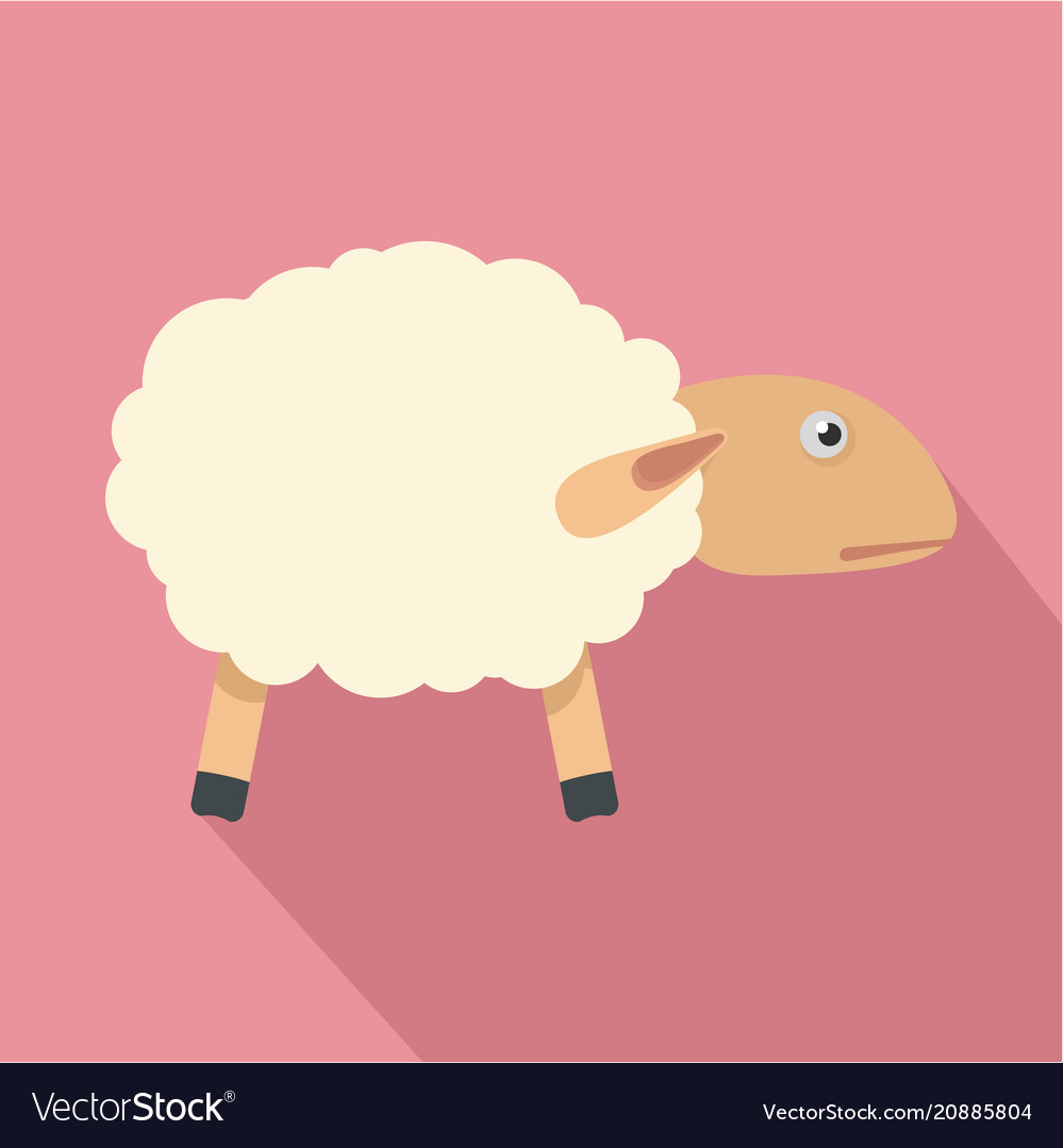 Sheep with shadow icon flat style