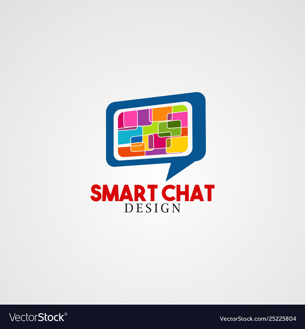 Smart chat logo icon element and template for