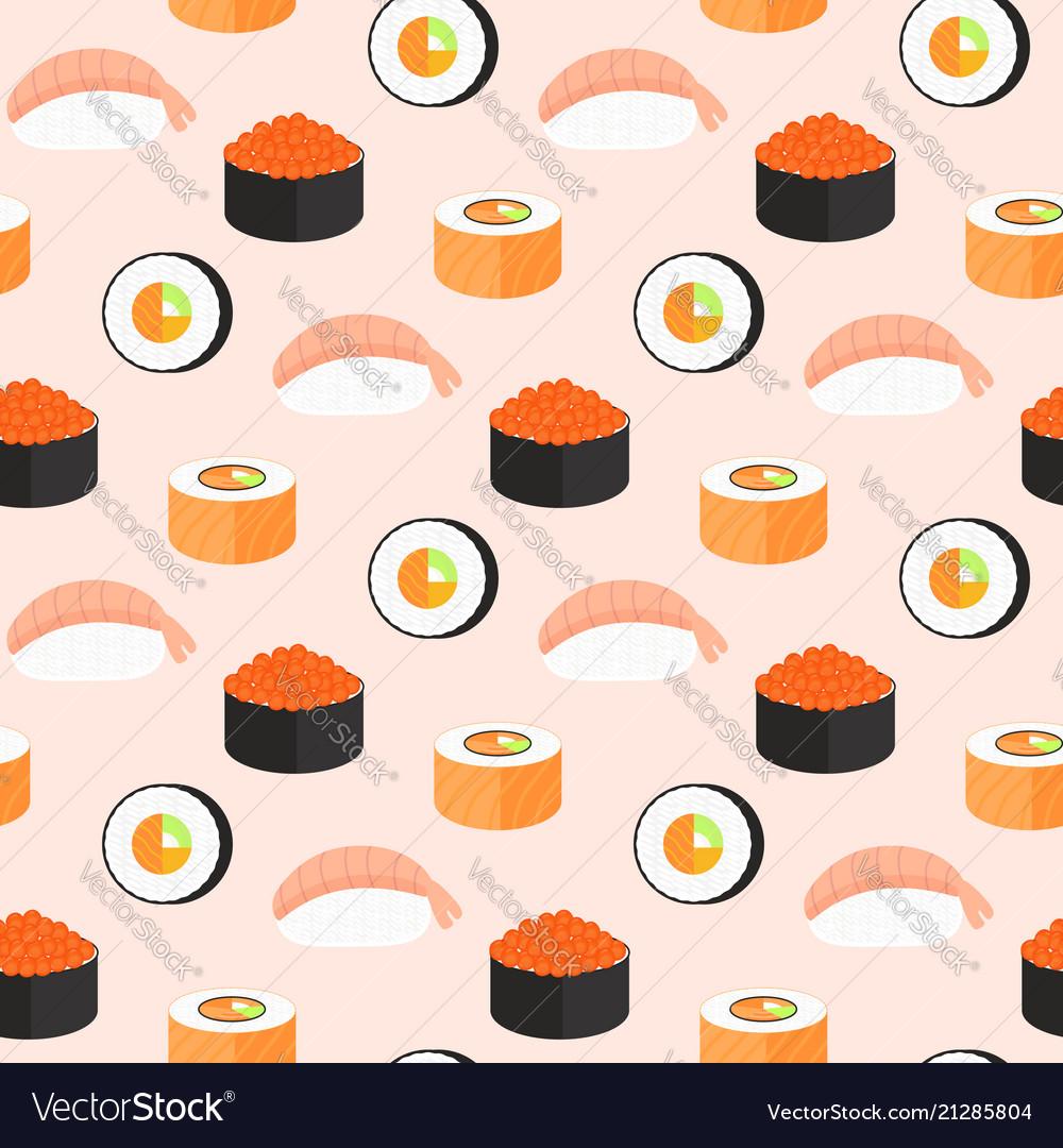 Sushi set rolls with salmon nigiri with shrimp
