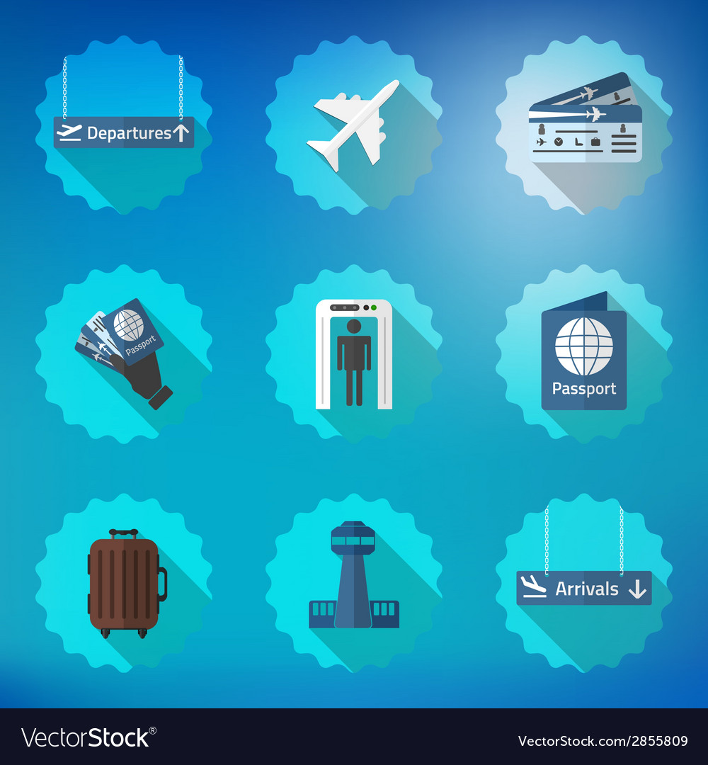 Airport Flight traveling Flat Icon Set Include