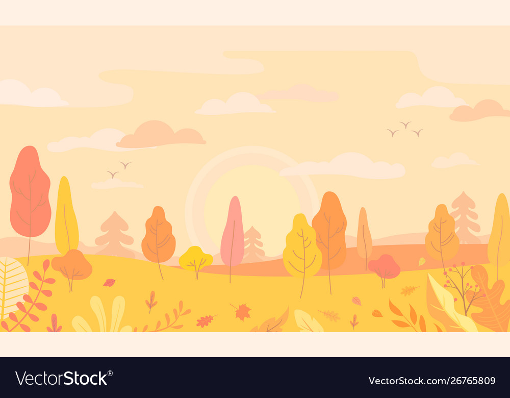 Autumn landscape view with yellow trees