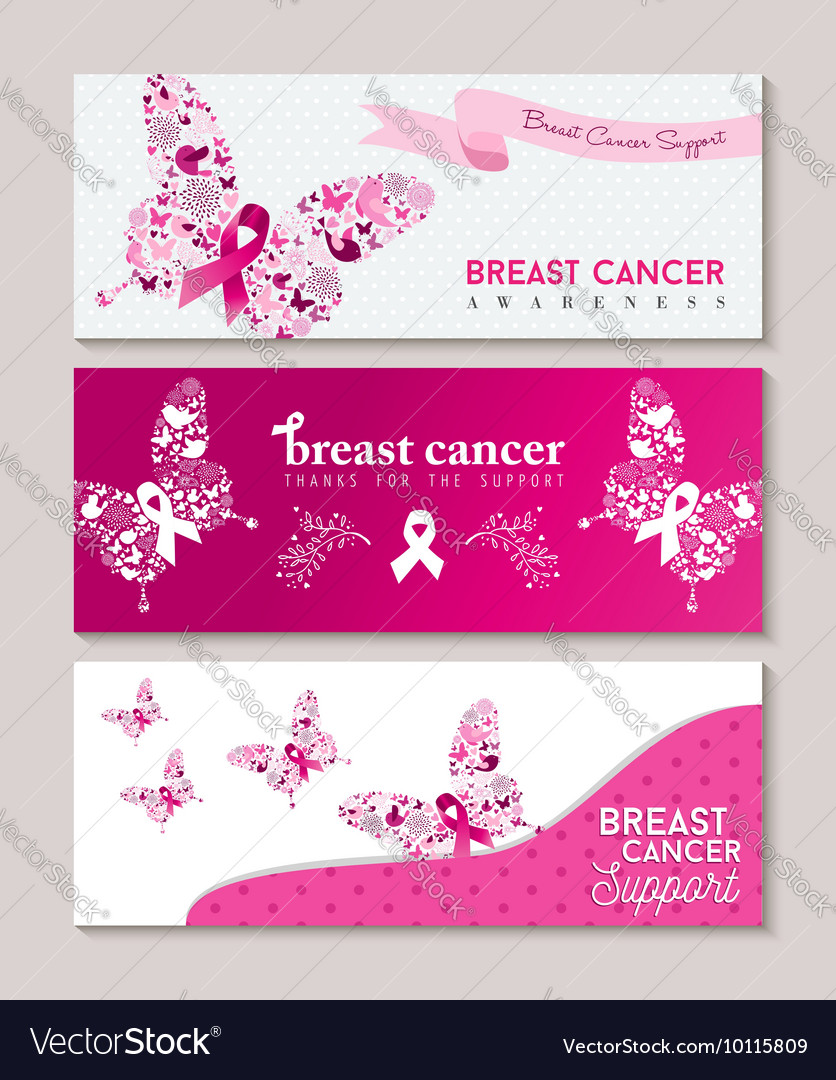 Breast cancer awareness butterfly ribbon banners vector image