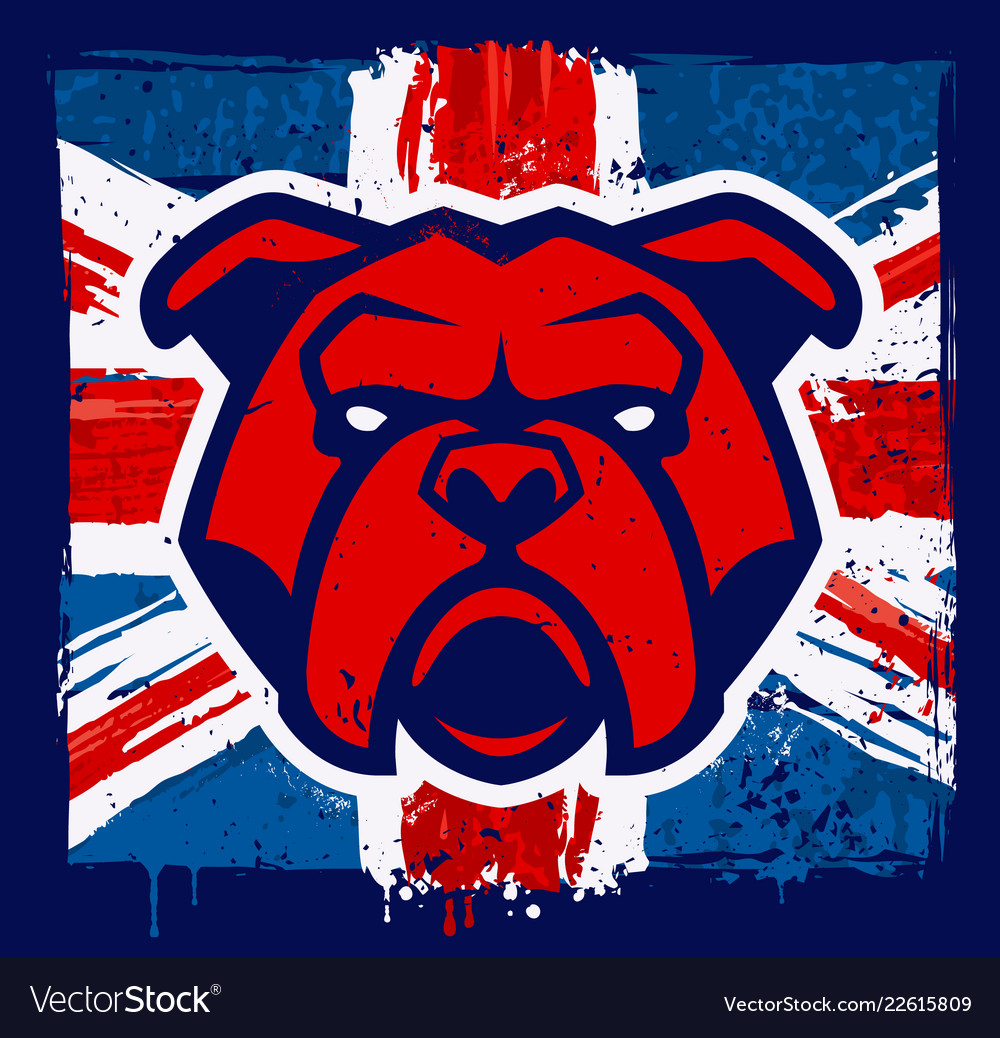 Bulldog mascot on grunge british flag