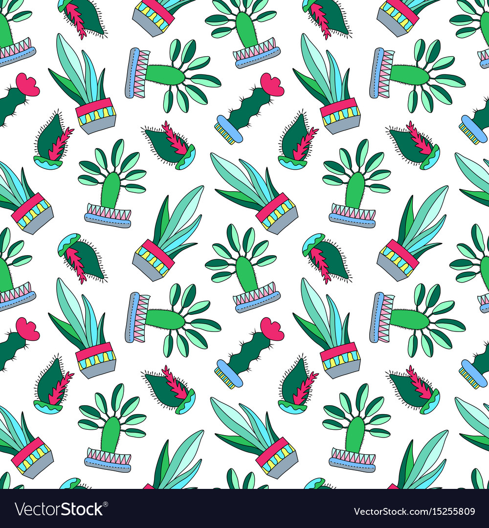 Cactus doodle on white vector image