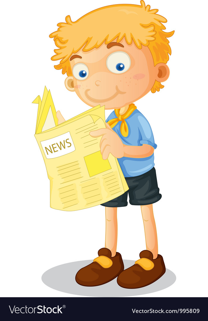 Cartoon Boy Reading Newspaper