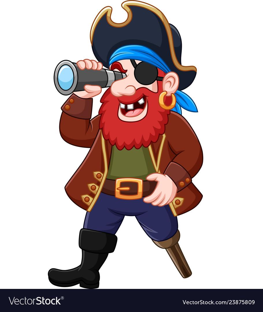 Cartoon pirate looking through binoculars