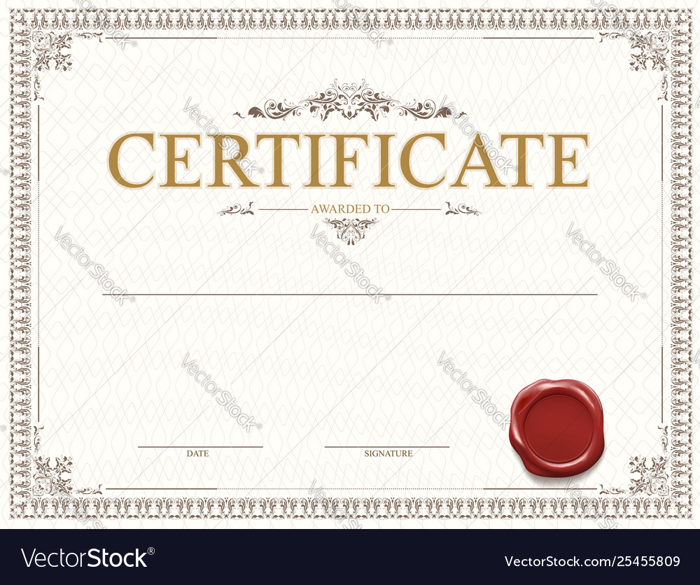 Certificate or diploma template design with seal