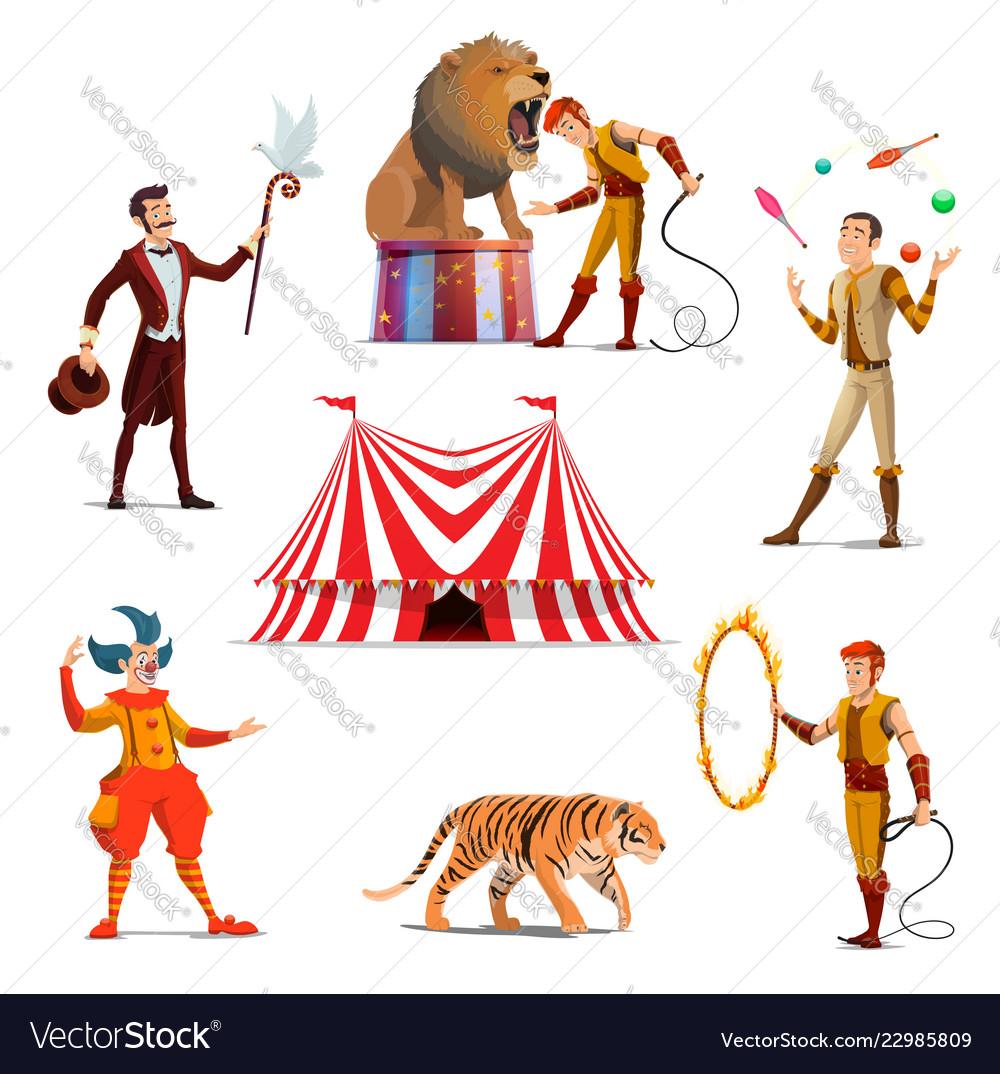 Circus big tent trainer magician clown juggler