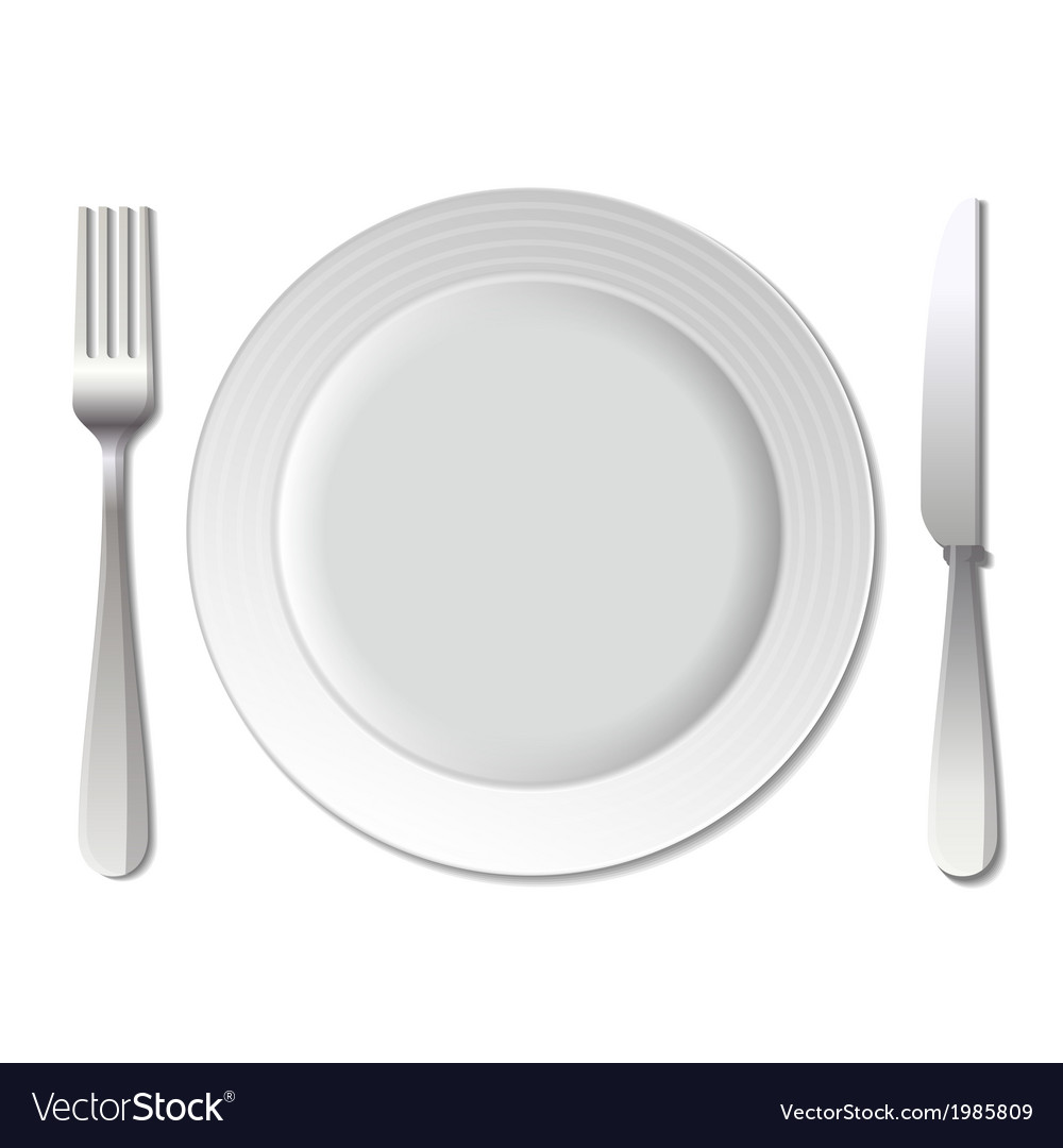 Dinner plate knife and fork Royalty Free Vector Image