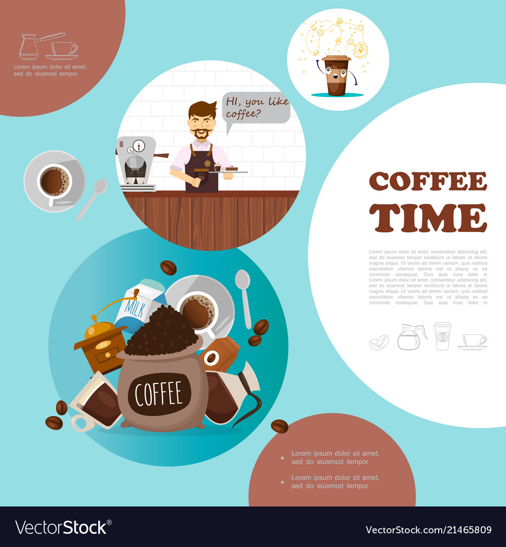 Flat coffee elements template