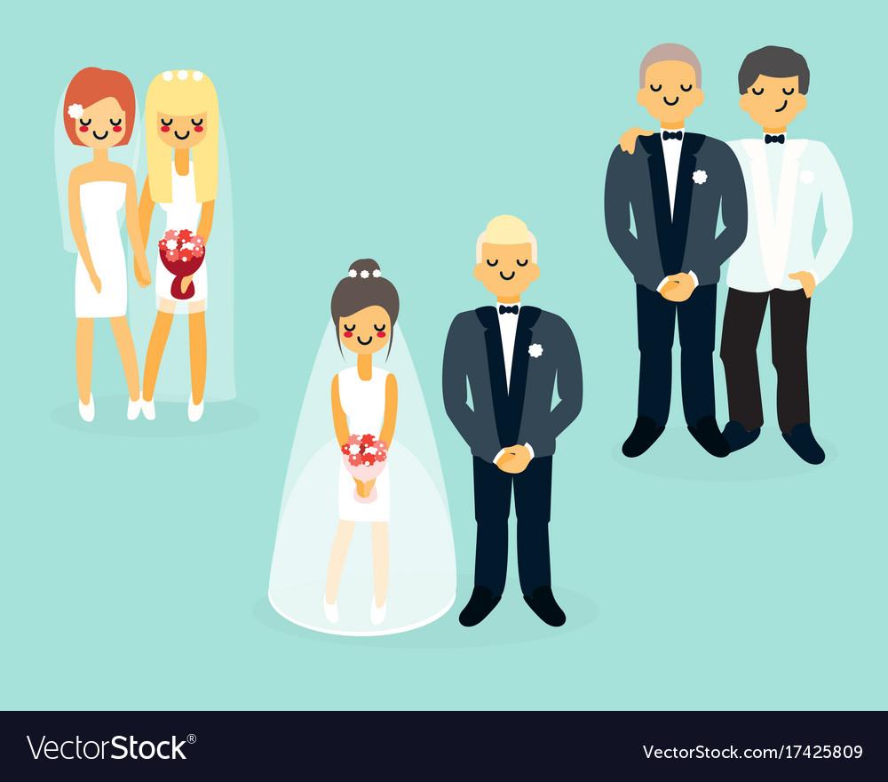 Flat wedding characters icons set vector image