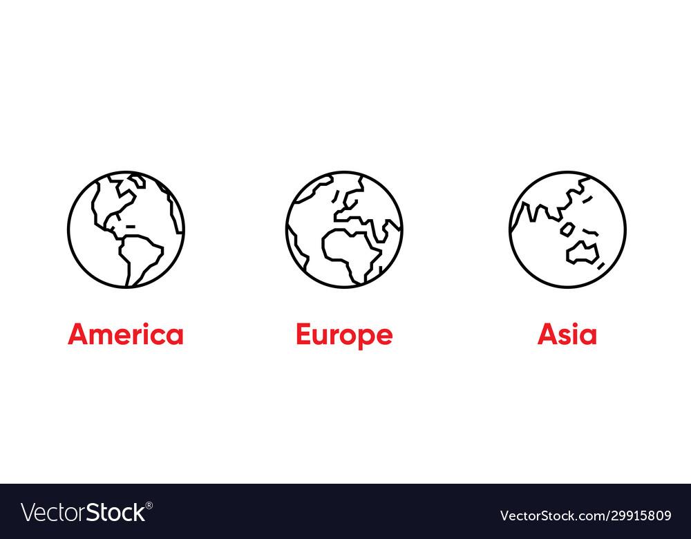 Globe america europe asia thin line editable