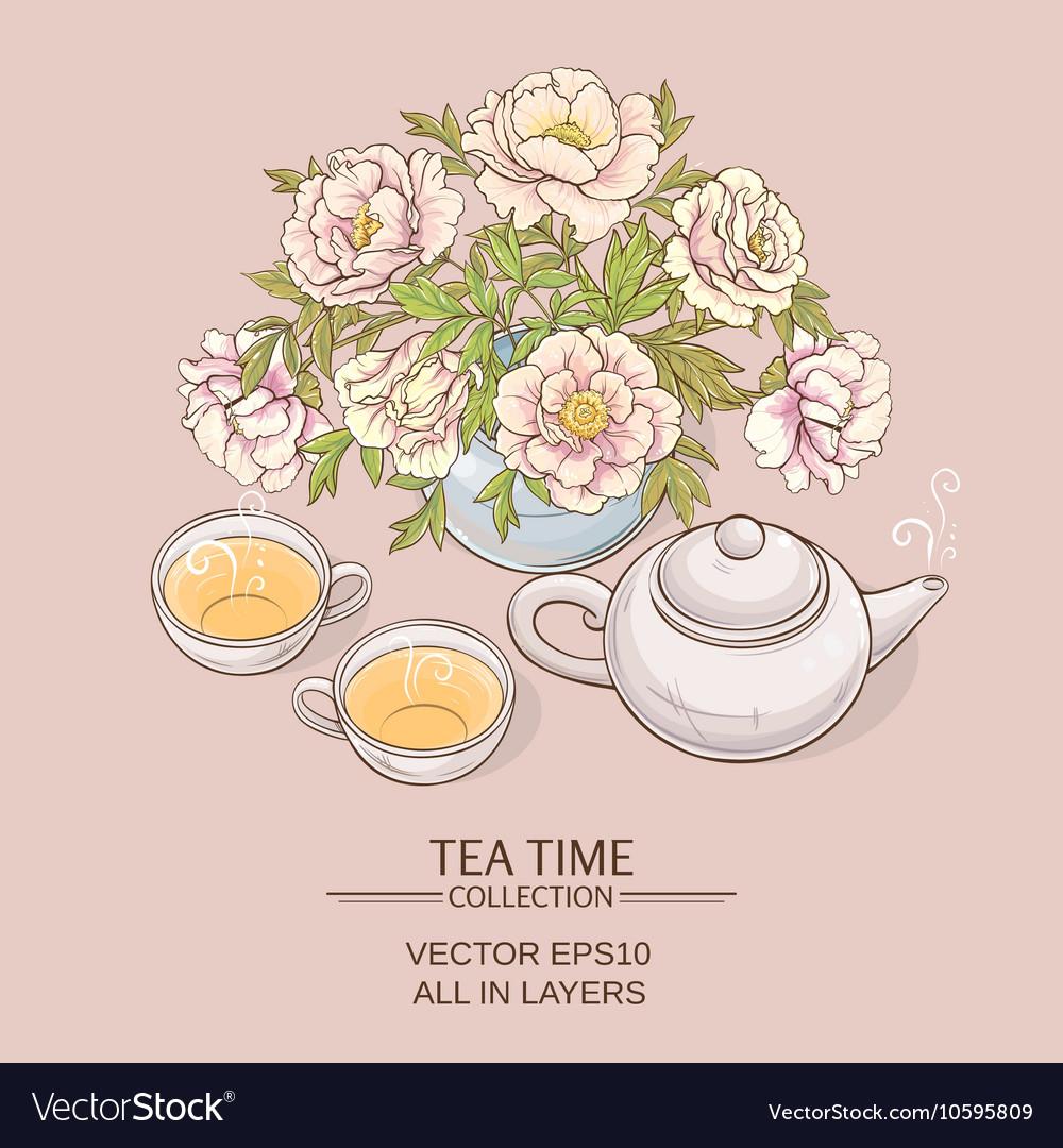Tea pot with tea cup and sugar bowl