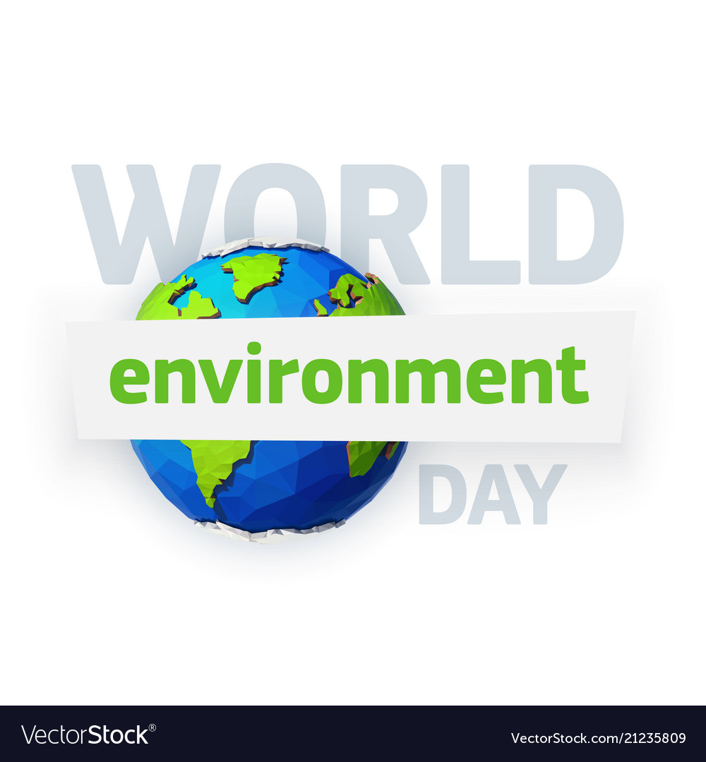 World environment day earth day banner low poly