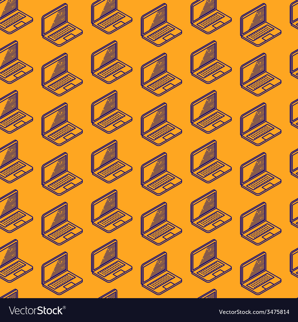 Abstract seamless pattern with isometric laptop