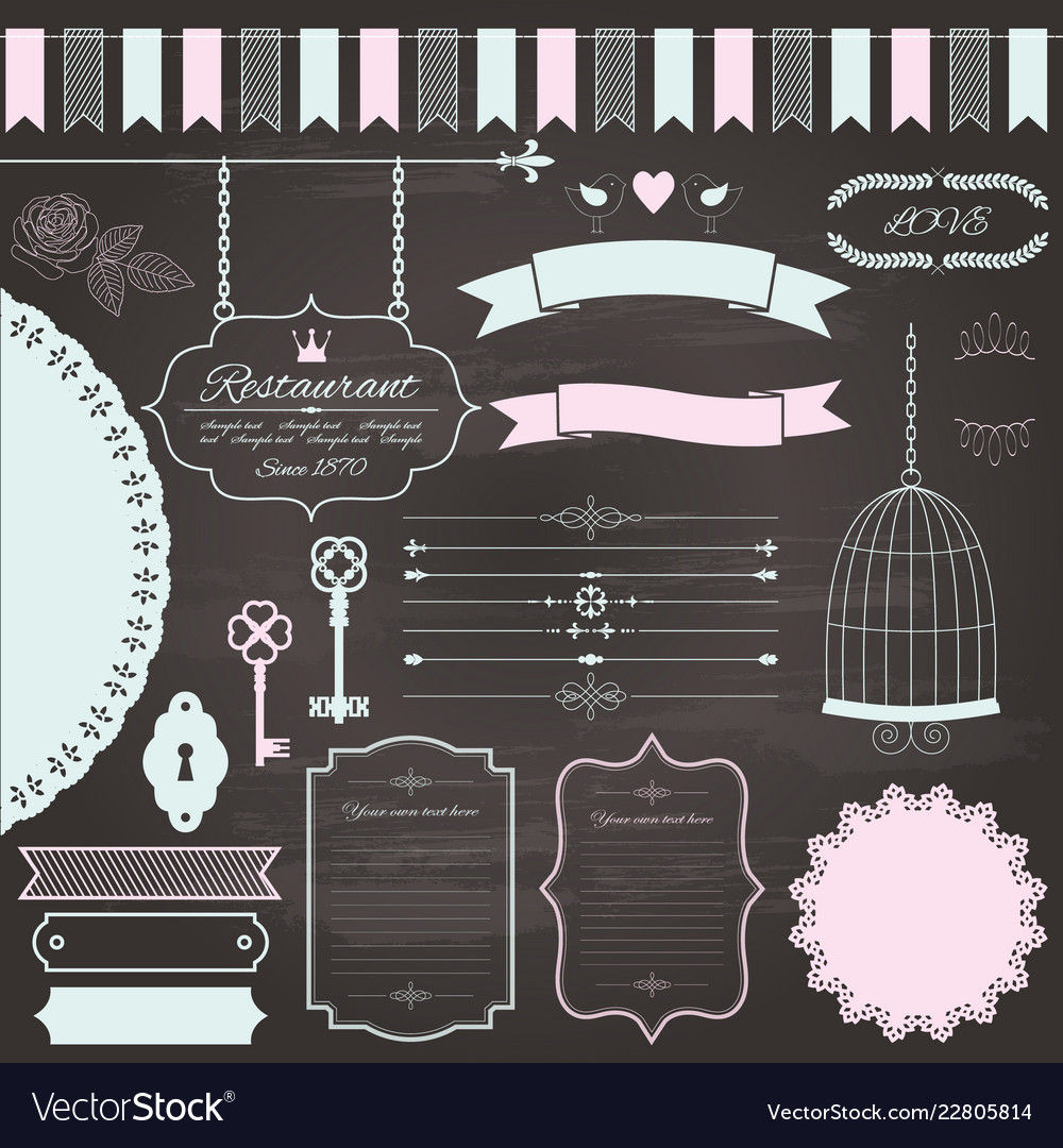 Design elements set on chalkboard background
