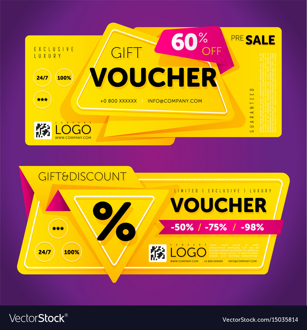 Gift voucher template with modern pattern