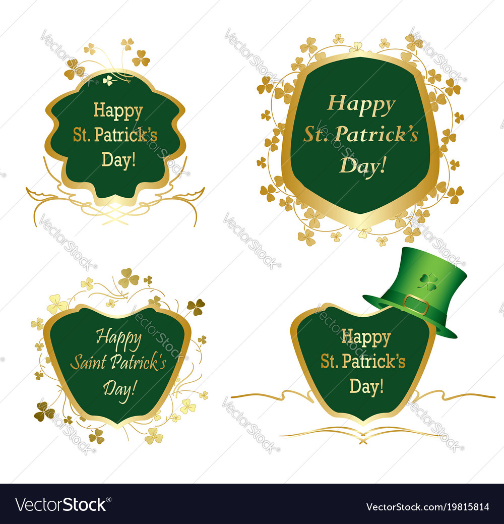 Golden Frames With Clovers For St Patrick Day Vector Image