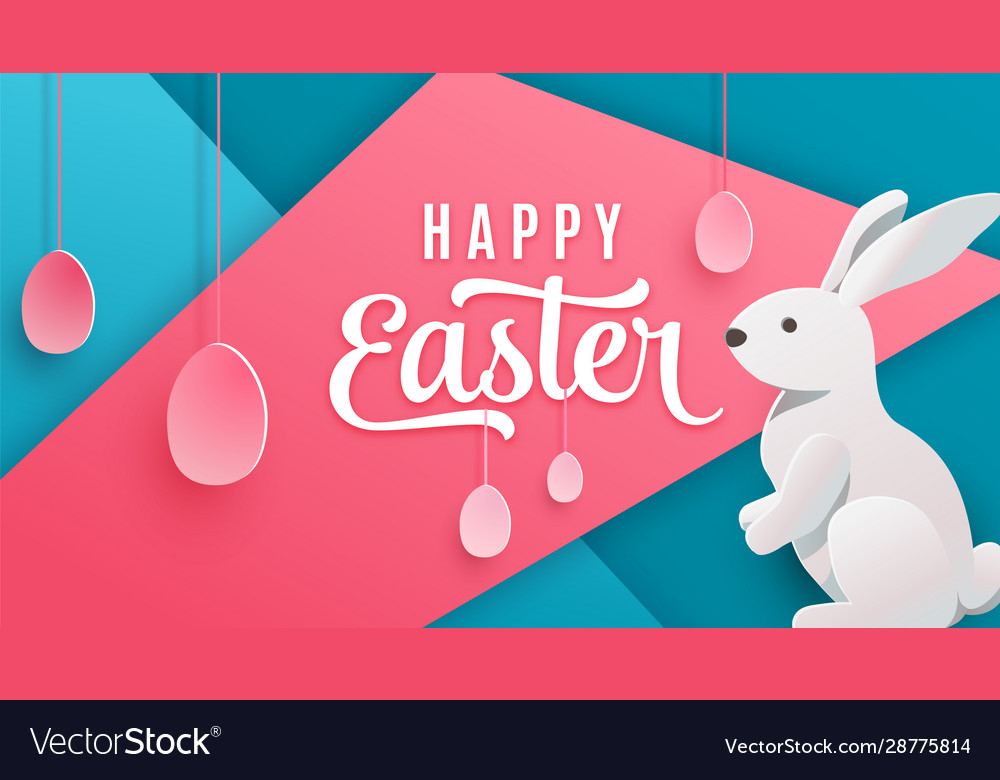Happy easter poster background holiday greeting