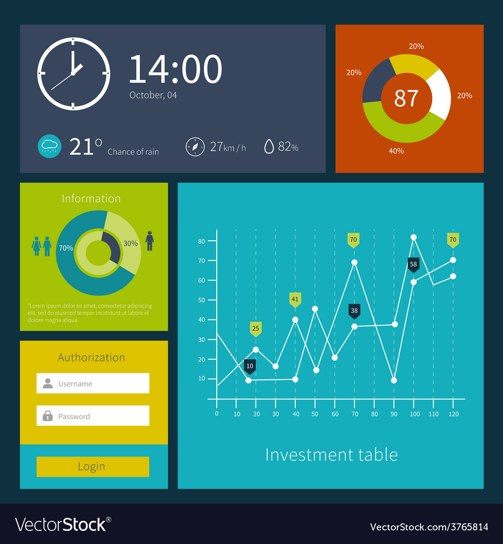 Modern colorful user interface layout in