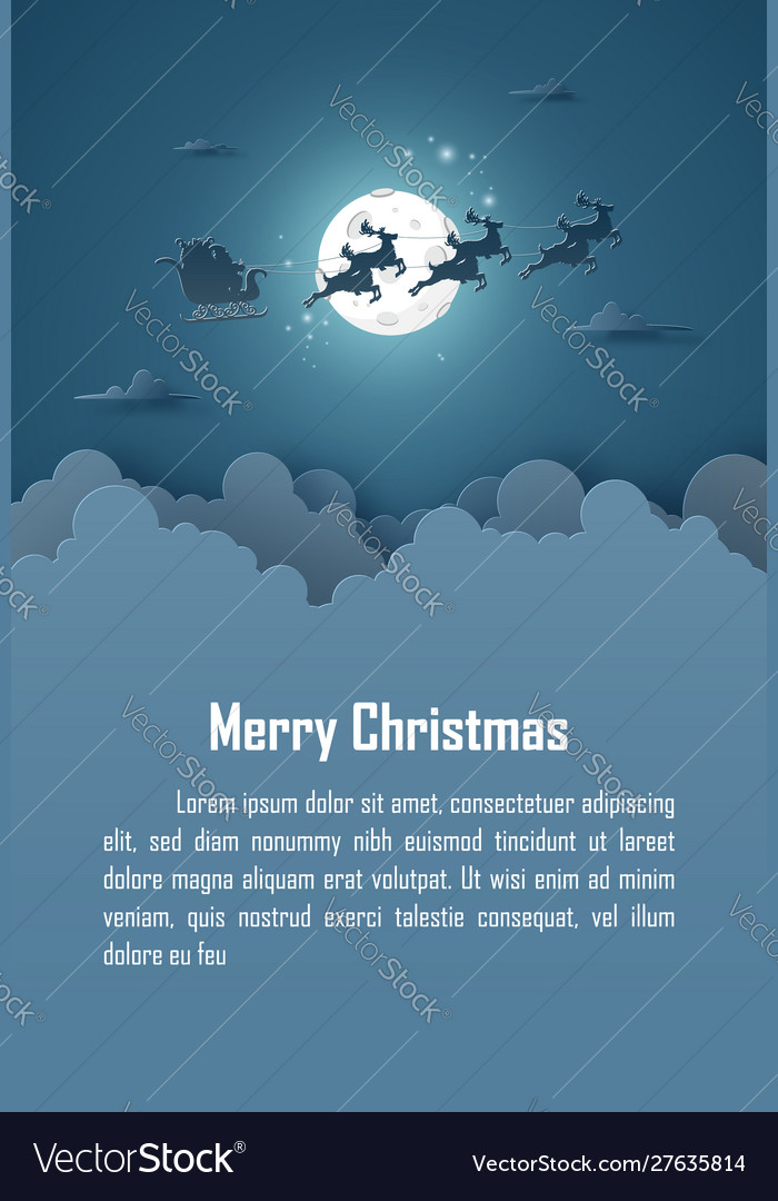 Origami paper art poster christmas background