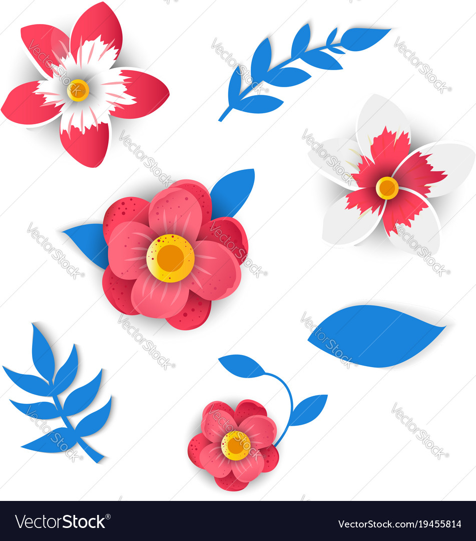 Paper Flowers And Tropical Leaves Royalty Free Vector Image