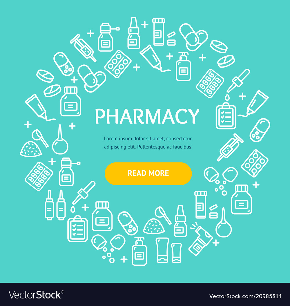 Pharmacy signs round design template thin line