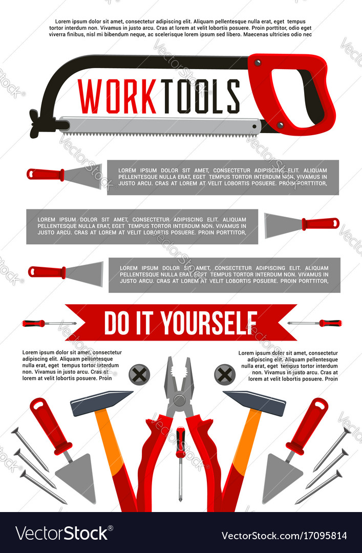 Poster of work tools or construction repair