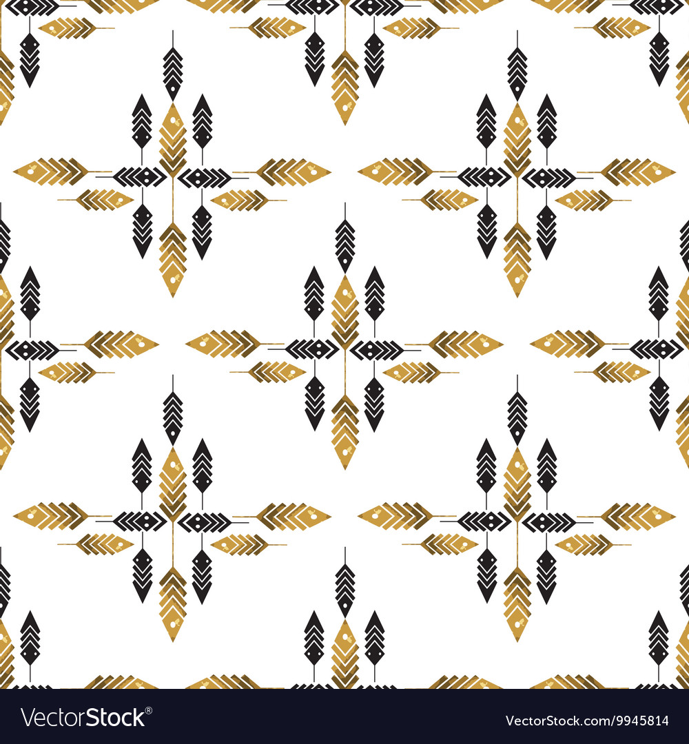 Seamless pattern with gold feathers