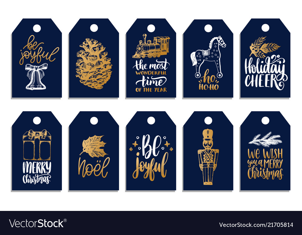 Set of tags with hand written christmas phrases